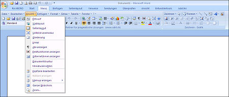 klassisches UbitMenu in Microsoft Word 2007